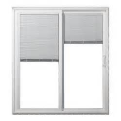 Vinyl Sliding Glass Doors Shop Jeld Wen 59 5 In Blinds Between The Glass White Vinyl Sliding Patio Door With Screen At