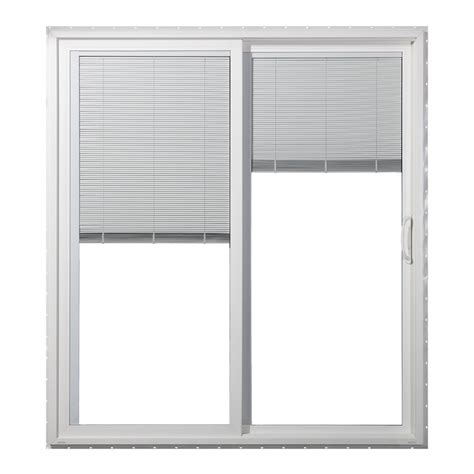 Sliding Patio Door With Blinds Shop Jeld Wen 59 5000 In Blinds Between The Glass White Vinyl Sliding Patio Door With Screen At