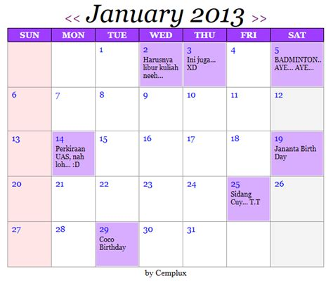 Codeigniter Calendar Template calendar function in codeigniter holidays and key dates