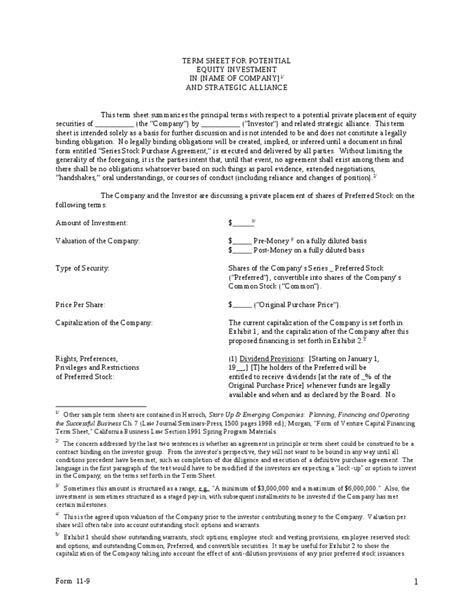 28 partnership term sheet template term sheet template