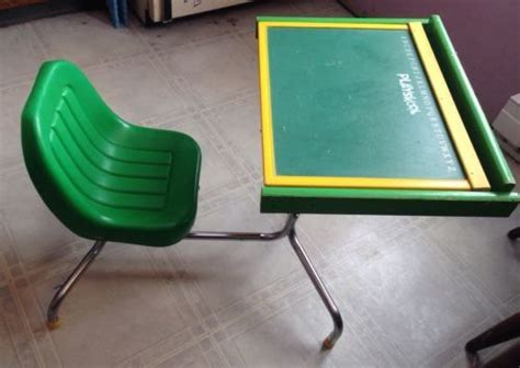 vintage green playskool peg desk 1970s attached chair