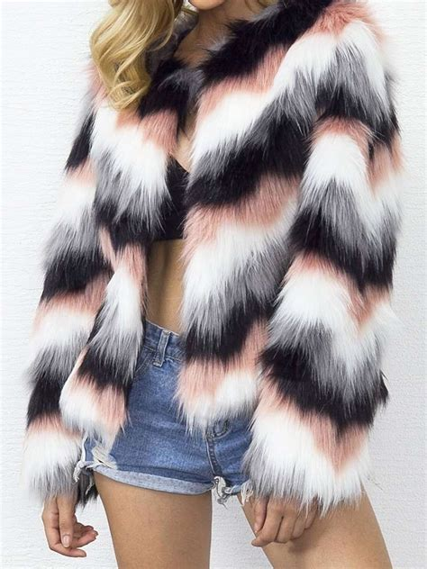 multi color faux fur coat jurllyshe multi colors striped faux fur coat