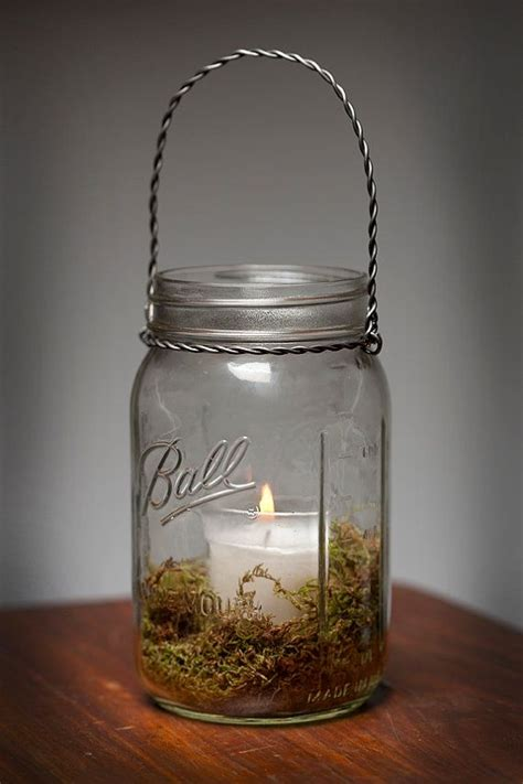 moss hanging light mason jar l candle lantern wedding