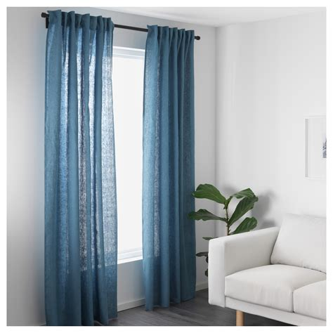 ikea cutains aina curtains 1 pair blue 145x250 cm ikea