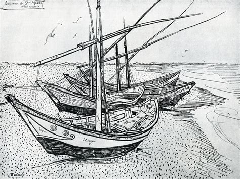boat on beach drawing vincent van gogh lines marks