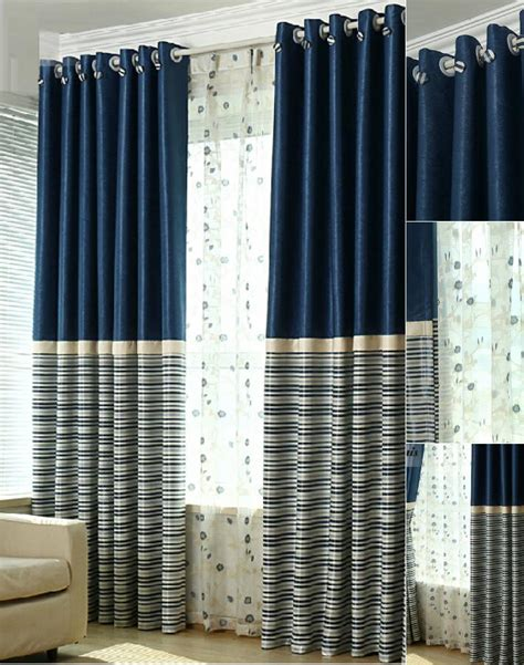 navy striped curtain panels simple navy polyester blackout striped curtains