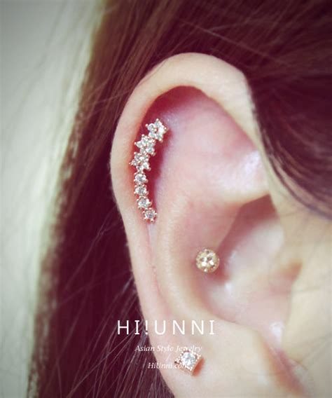 16g of pearl cartilage earring cz stud earring