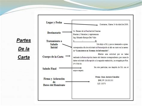 carta formal y partes tipos formatos y modelos ppt descargar