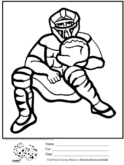 coloring pages for boys baseball catcher for school