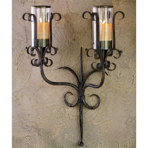 Wrought Iron Candle Sconces tuscan wrought iron siena candle sconce