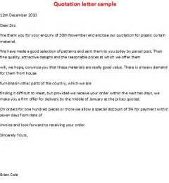 business letter sles quotation letter sle