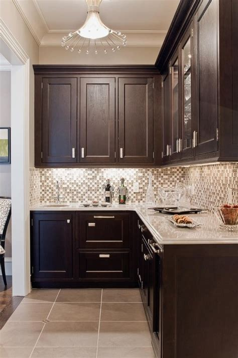 Pictures Of Kitchen Backsplashes With Granite Countertops by Dark Brown Cabinets Gray Countertops Kitchens Pinterest