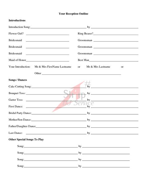 Printable Wedding Dj Checklist Wedding Song List For Dj Template