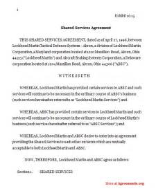 Shared Service Agreement Template Shared Services Agreement Sample Shared Services