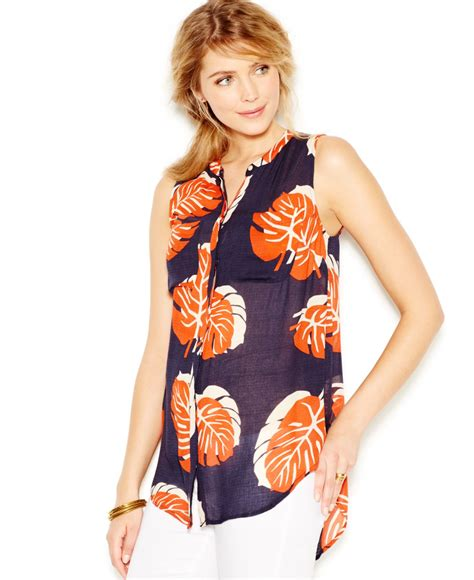 Baju Blouse Blus Denim Printing lucky brand lucky brand split neck leaf print blouse in blue navy multi lyst
