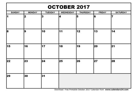 printable calendar pages 2017 october 2017 calendar