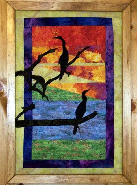 pattern for quilting frame sunset silhouettes frame or quilt fabric wall art e