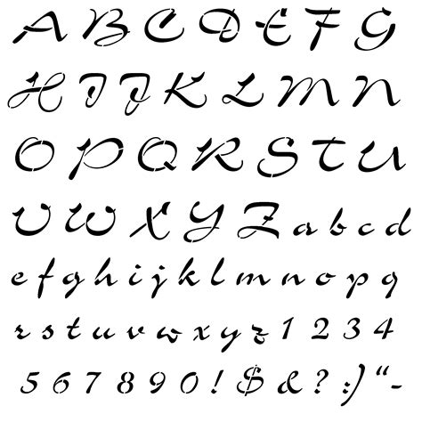 printable letter stencils script airfoil script stencil