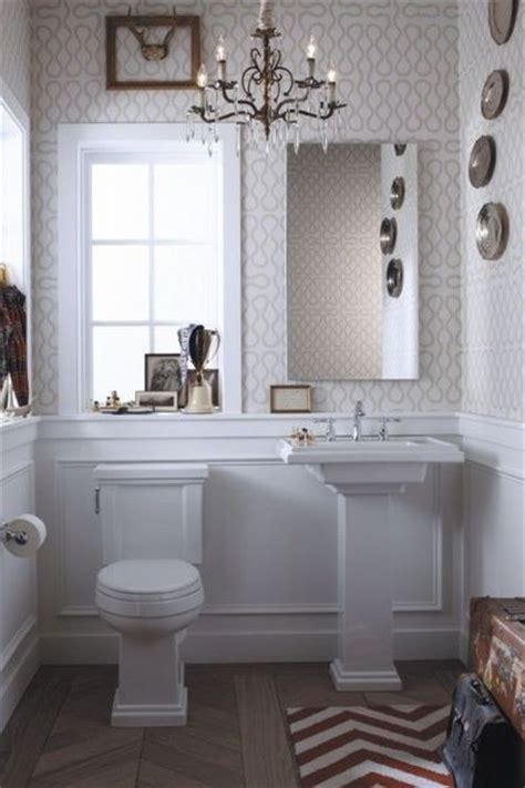 powder room wallpaper powder room subtle wallpaper chevron rug and tile bath ideas juxtapost