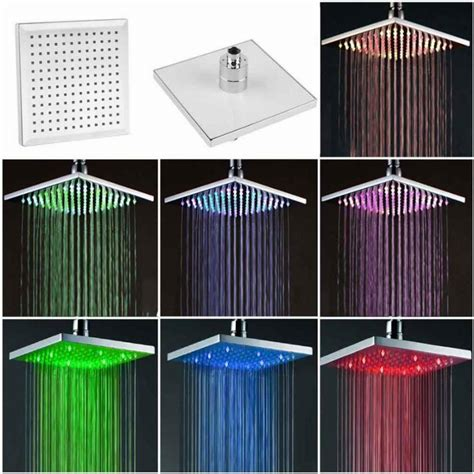 bathroom lighting color temperature 7 color changing rainfall shower head 8 quot square temperature