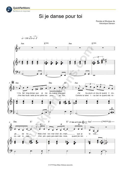 tutorial piano veronique sanson partition piano si je danse pour toi vronique sanson