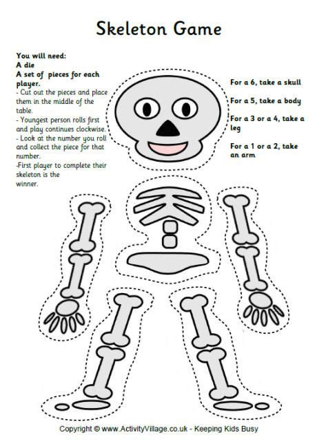 printable skeleton puzzle 20 halloween party games skeletons gaming and human body