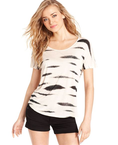 Kesie Top Lyst Kensie Sleeve Scoop Neck Printed In White