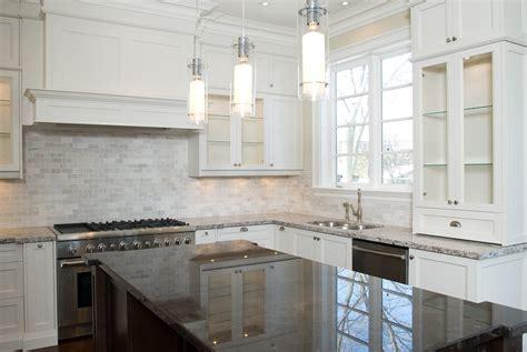 white glass tile backsplash white countertop with dark decorations white tile backsplash kitchen ideas with hood