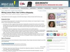 writing a biography lesson plan how to write a biography lesson plan for 6th 8th grade