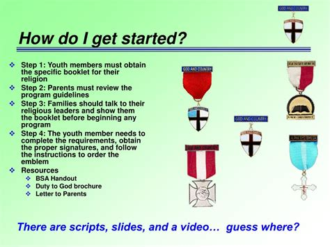 how did get started ppt a scout is reverent religious emblems program