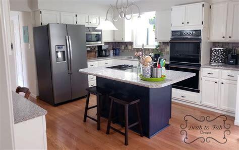 Antique White  Coastal Blue Kitchen Cabinet Makeover