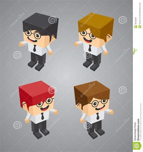 Blockers Characters Businessman Block Isometric Character Stock Vector Image 40762097