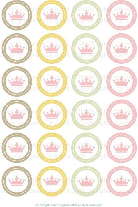 printable circular stickers printable round stickers pink crown