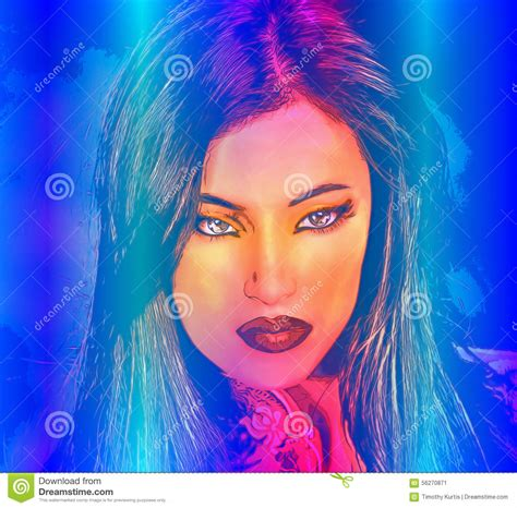 beauty india digital brunette woman in a beautiful abstract digital art style stock illustration image 56270871
