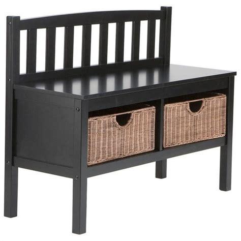 black bench with baskets southern enterprises satin black bench with 2 brown rattan