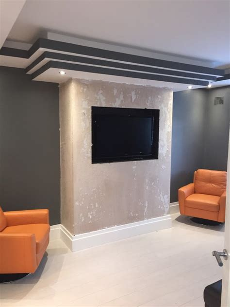 Fireplace Breast by Black Glass Chimney Breast And Feature Mirrors