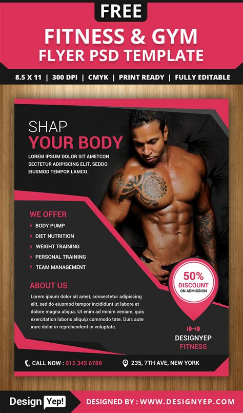free fitness and gym flyer psd template designyep