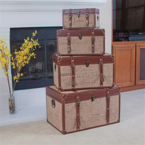 living room trunk set of 4 stacking scripted sackcloth decorative storage trunks modern living room los