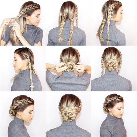 photos on how to dress braids 18 easy braided bun hairstyles to try asap gurl com