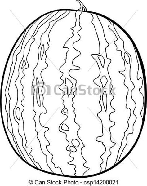 Semangka Vektor watermelon illustration for coloring book black and white