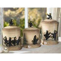 2 dancing black bear kitchen canister set lodge decor