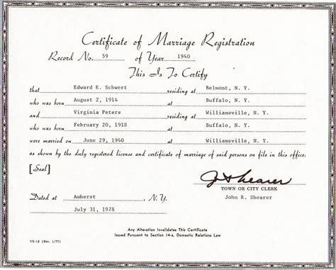 Department Of Marriage Records New York State Marriage License Records