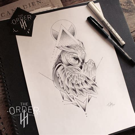 tattoo owl sketch neo traditional owl sketch the order the order custom