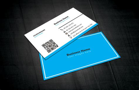 blue white business card template free download