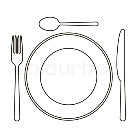 Plate, knife, spoon and fork   Stock Vector   Colourbox