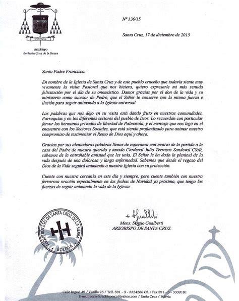 carta felicitacion cumplea 241 os del papa francisco monse 241 or sergio env 237 a
