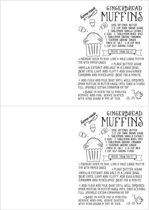 gingerbread recipe card template free printable illustrated recipe