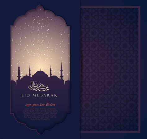 eid mubarak card template islamic greeting card with mosque calligraphy and arabic