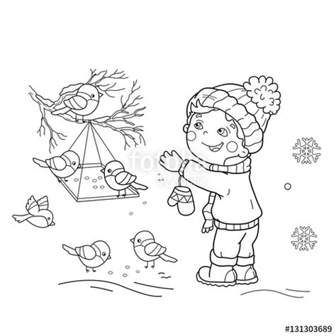 coloring pages birds in winter quot coloring page outline of cartoon boy feeding birds bird