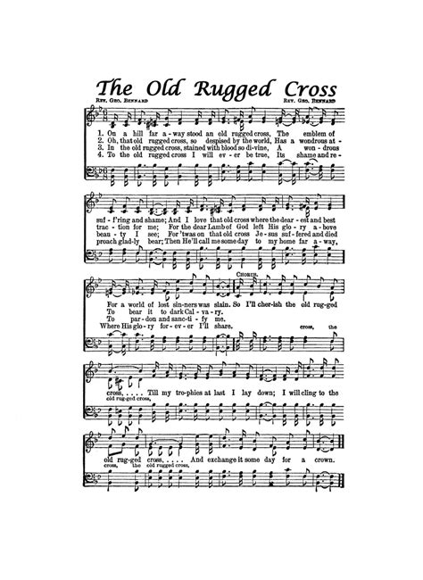 The Rugged Cross Lyrics Hymn by The Rugged Cross Hymn Digital Sheet By Thehymnshoppe